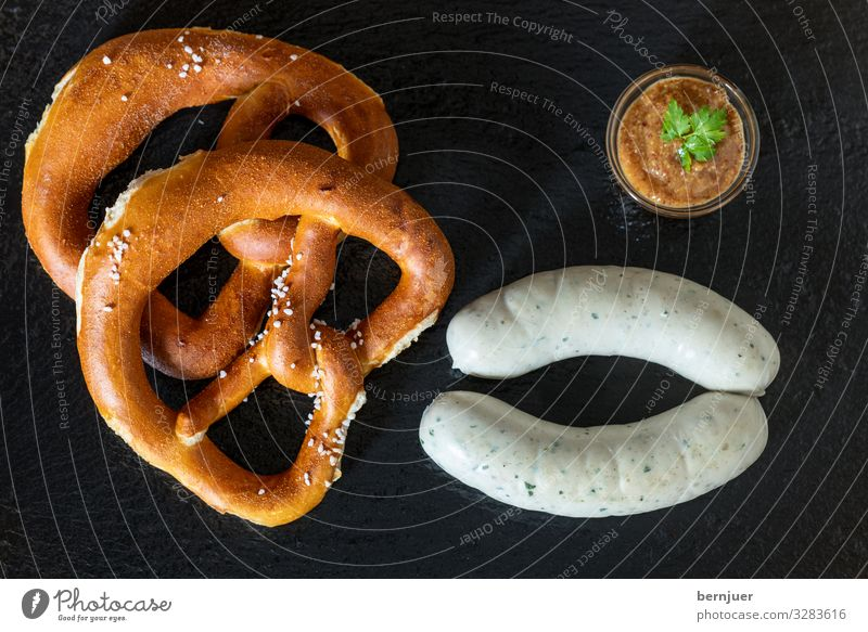 Bavarian veal sausages Sausage Lunch Beer Oktoberfest Fresh Hot White Veal sausage supervision Slate Portion two Eating Rustic Mustard Pretzel Parsley