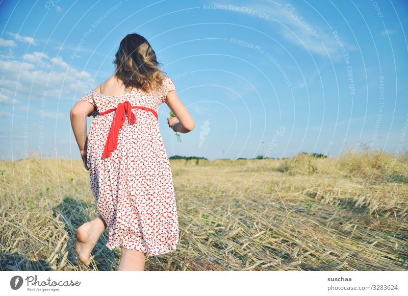 run baby run... Child Girl Feminine Freedom Playing Joy Good mood Summery Dress Hair and hairstyles Sky Straw Field Infancy Happiness Light heartedness Retro