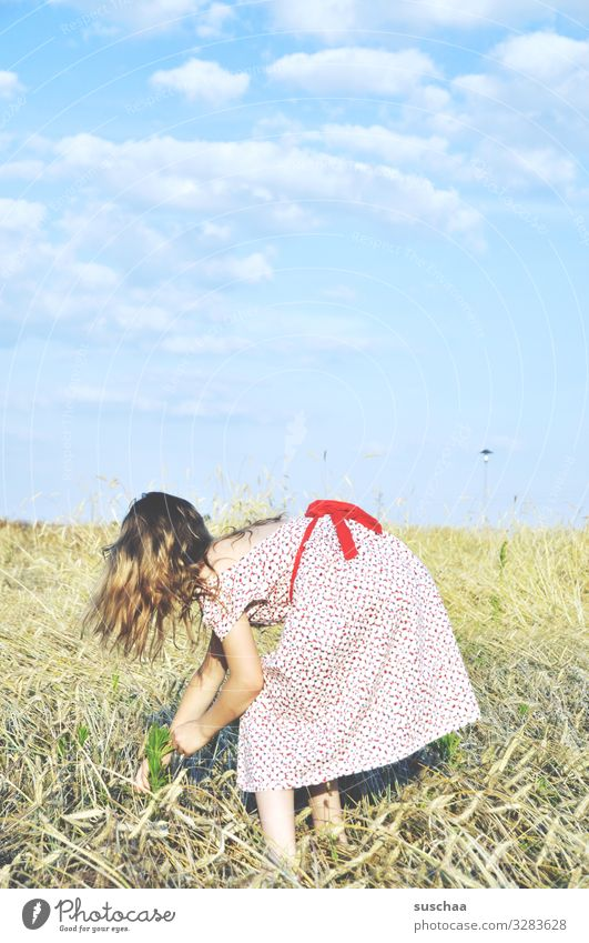summer day Child Girl feminine Infancy Happiness Light heartedness Freedom Summer Sunlight Warmth Dress Retro Hair and hairstyles Sky Clouds Exterior shot Straw