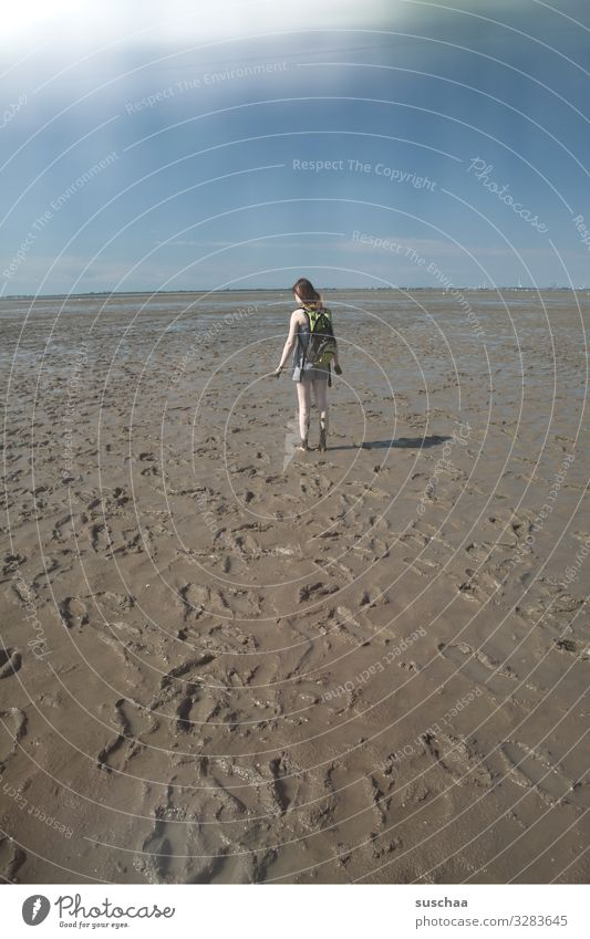 mud walk Mud flats Beach Slick Ocean North Sea Tide Water Lanes & trails Sky Human being Girl Youth (Young adults) Young woman To go for a walk