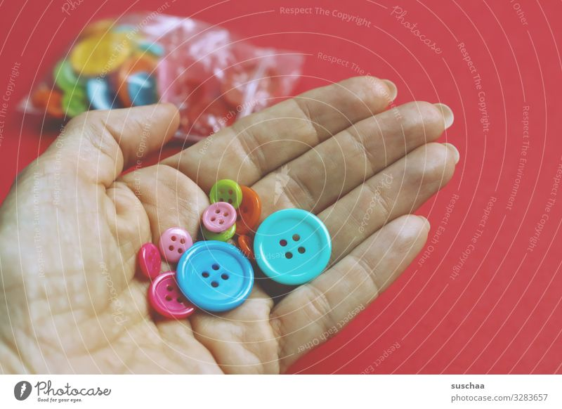 buttons Buttons Craft buttons Handicraft Hollow Fingers Many Multicoloured Sewing sew on Craft accessories Neutral Background Red sachets DIY Embellish