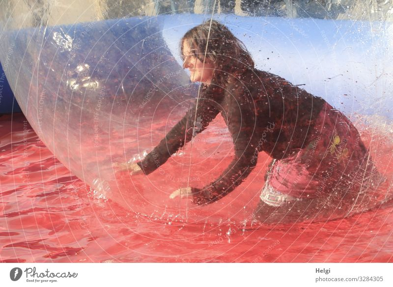 Woman kneels happily in a big plastic ball in the water basin Human being Feminine Adults 1 45 - 60 years Clothing T-shirt Skirt brunette Long-haired bubble