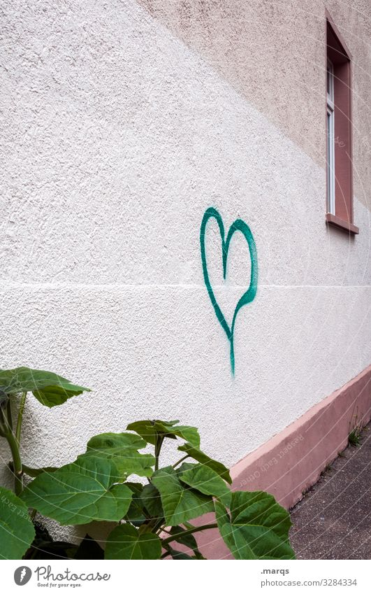 Heart to house wall Symbols and metaphors Graffiti Window leaves Plant Love Display of affection Town Valentine's Day