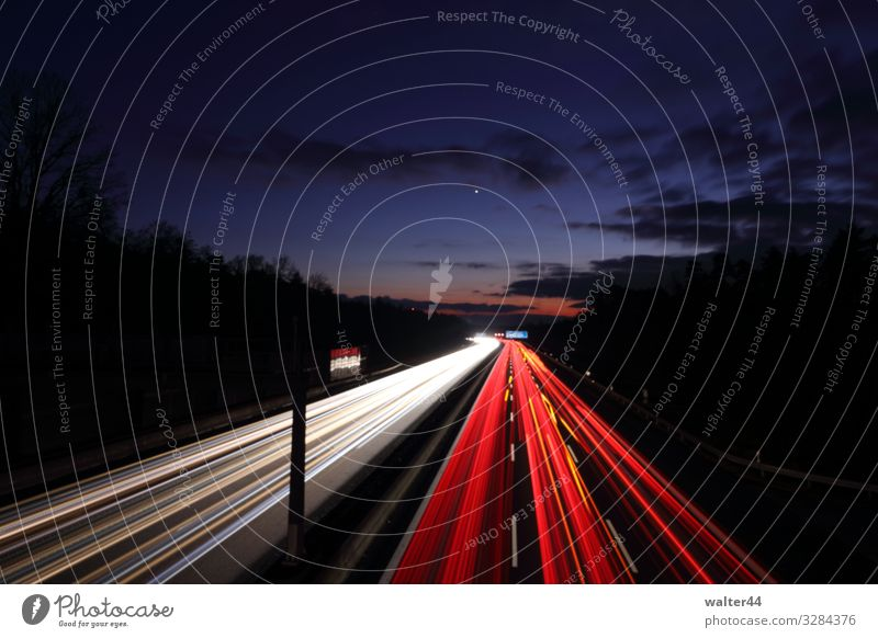A9 Sky Clouds Transport Traffic infrastructure Motoring Highway Vehicle Car Stripe Tracer path Red White Colour photo Exterior shot Twilight Long exposure