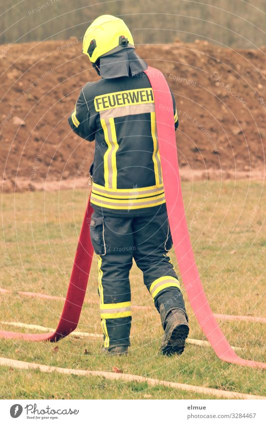 FIREMAN Fireman Uniform Helmet Protective clothing Reflector Walking Carrying Yellow Red Black Passion Trust Protection Responsibility Diligent Disciplined