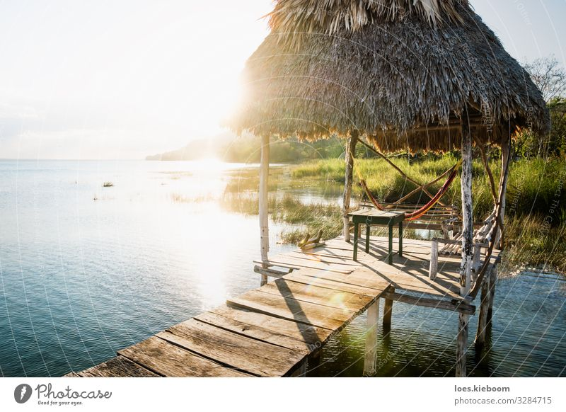 Dock during sunset with sun beam at lake Itza, Guatemala Relaxation Vacation & Travel Tourism Far-off places Summer Sun Beach Nature Landscape Foliage plant
