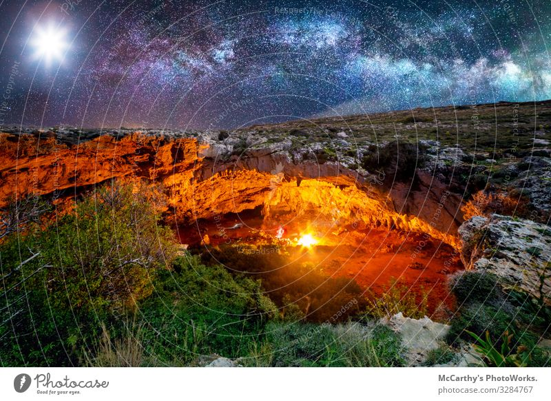 Ghajn Tuta Cave by Night Beautiful Adventure Camping Hiking Climbing Mountaineering Nature Landscape Night sky Rock Vacation & Travel Ahrax Europe Mediterranean