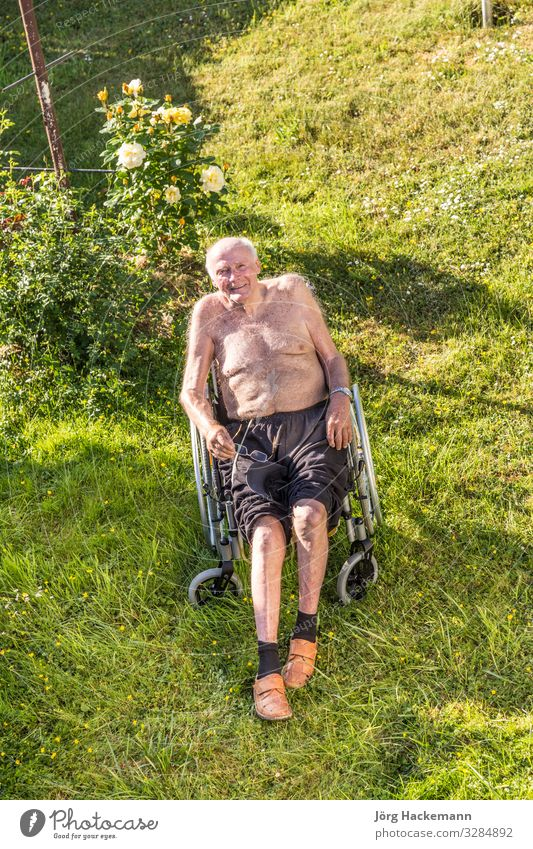 senior man relaxes in the wheelchair Joy Happy Relaxation Summer Garden Man Adults Warmth Emotions eighty glasses ninety retired Wheelchair Colour photo