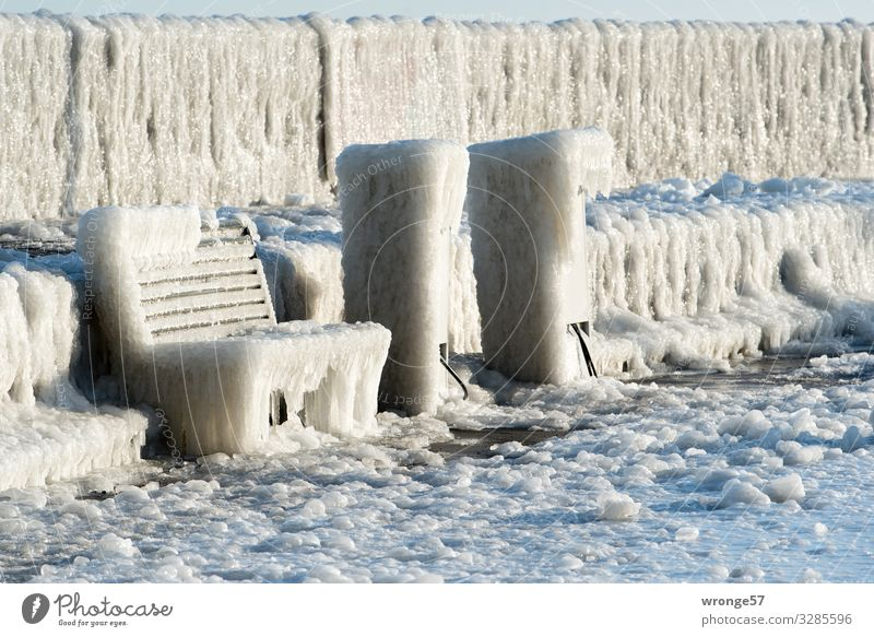 Winter at sea II Baltic Sea Island Rügen Sassnitz Germany Europe Small Town Deserted Harbour Cold Maritime Brown Gray White Ice Icicle Ice sheet Frozen Mole