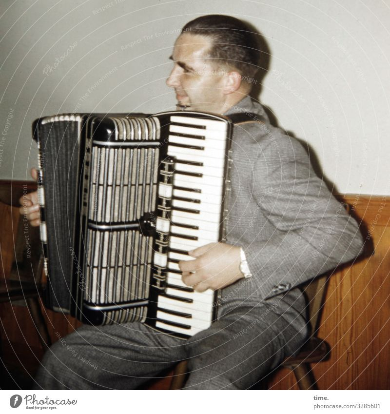 mood enhancer | accordion ensemble, right Accordion Man Playing Whim Moody Music Chair Room entertainment Sit stop Short-haired Suit