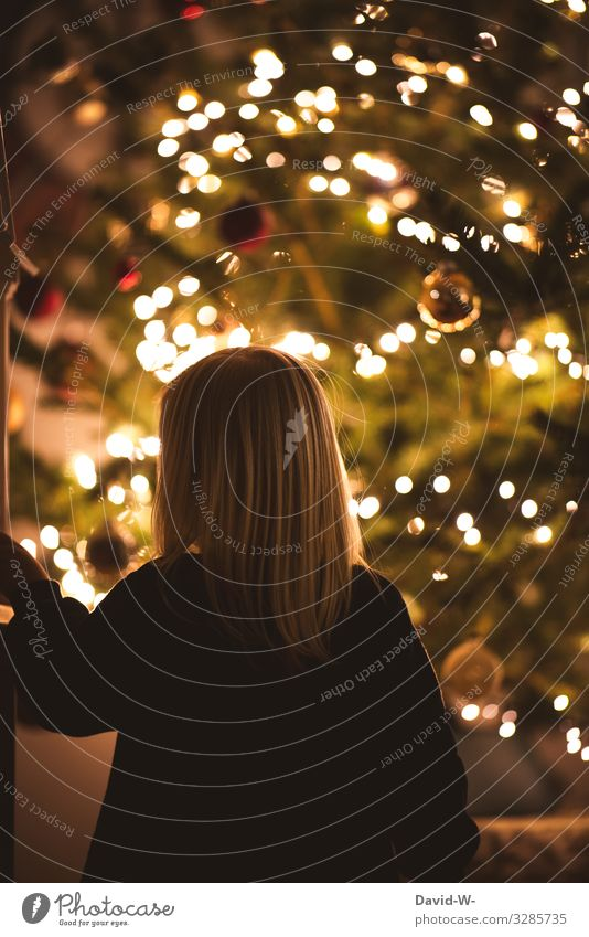 Anticipation   Christmas Eve - Child stands in awe before a decorated Christmas tree Toddler Giving of gifts Joy Emotions Christmas & Advent warm Gold