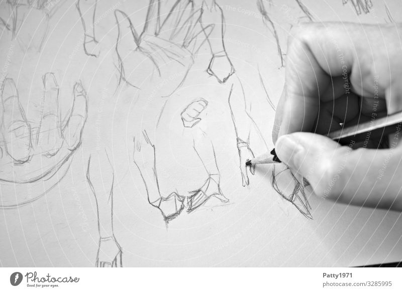 finger exercise Hand Anatomy 1 Human being Art Artist Drawing Conceptual design Pencil Paper Esthetic Creativity Practice Study Black & white photo Close-up