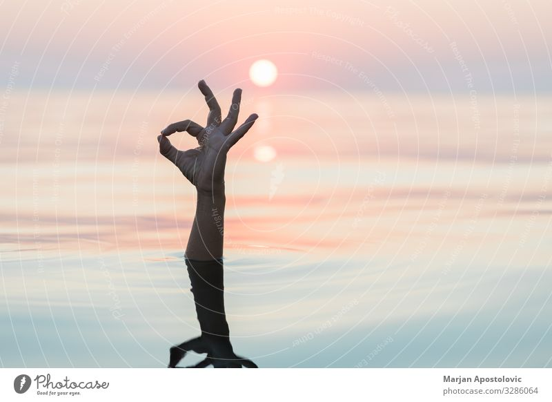 Hand emerging from the water showing OK sign Wellness Vacation & Travel Summer vacation Ocean Arm Nature Water Sunrise Sunset Beautiful weather Sign Good