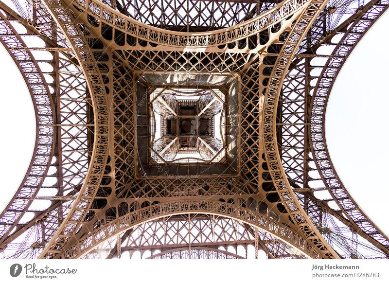 abstract view of details of Eiffel Tower , Paris, France Vacation & Travel Tourism Art Culture Sky Places Architecture Monument Metal Black White background