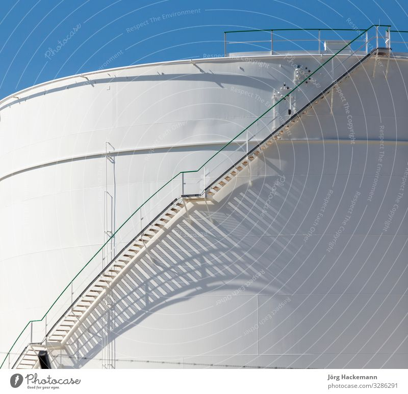 white tanks in tank farm with iron staircase Summer Industry Plant Sky Metal Steel Oil Blue White Safety (feeling of) Energy Gas Raunheim big Chemistry