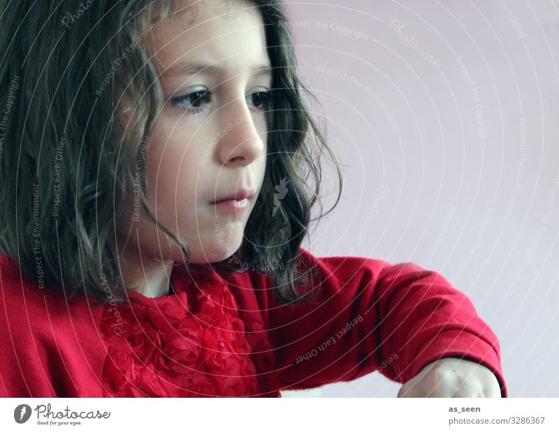 . Parenting Kindergarten Study Girl Infancy 1 Human being 3 - 8 years Child Sweater Brunette Curl Think Looking Playing Authentic Beautiful Red Black Patient
