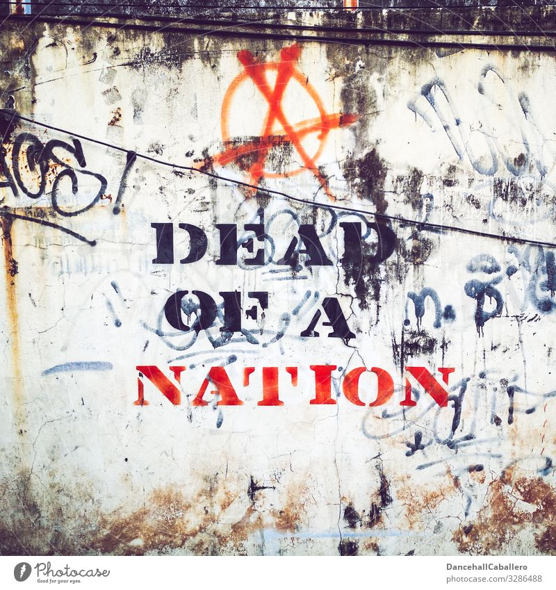 Written | dead of a nation Town Wall (barrier) Wall (building) Stone Concrete Sign Characters Graffiti Moral Politics and state Destruction Death