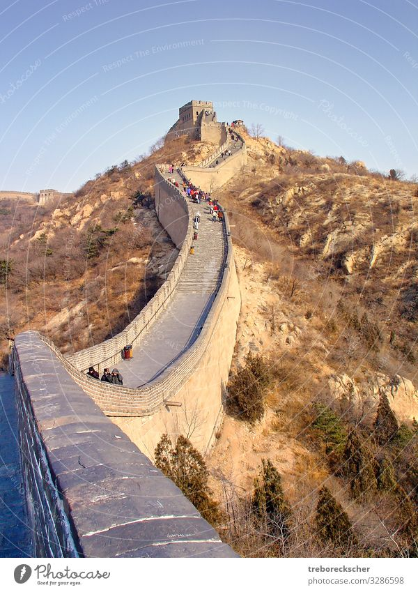 The Chinese Wall, view of a section of the wall Vacation & Travel Tourism Mountain Culture Nature Landscape Earth Hill Architecture Lanes & trails Stone Old