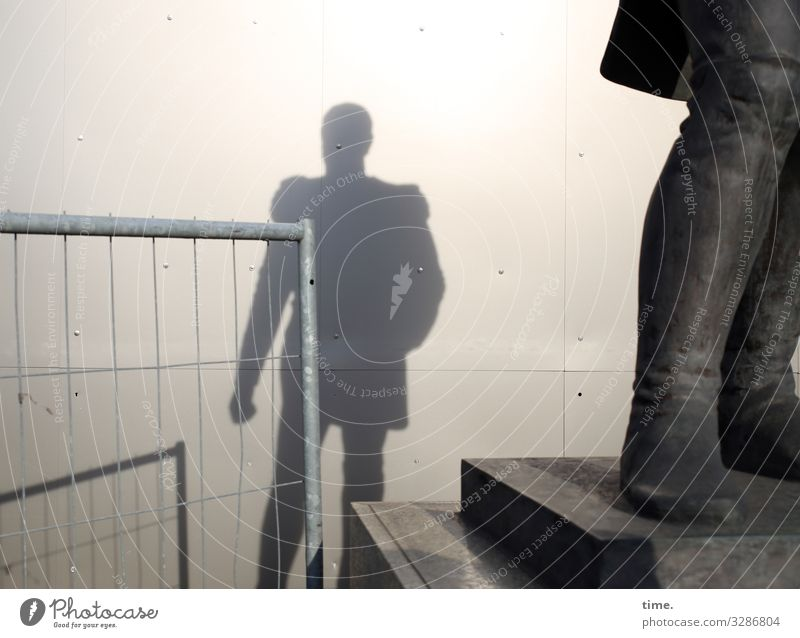 Shadows of the past (full version) Workplace Construction site Masculine Man Adults 1 Human being Art Exhibition Work of art Sculpture Statue Berlin