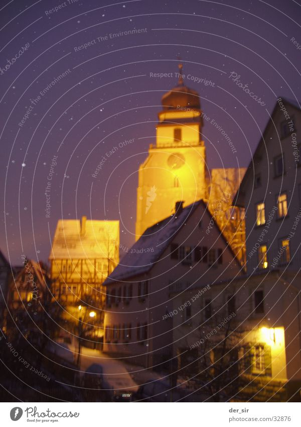 WinterNight0205 Half-timbered facade House (Residential Structure) Dark Street lighting Winter mood Church spire Town Small Town Cozy Transport