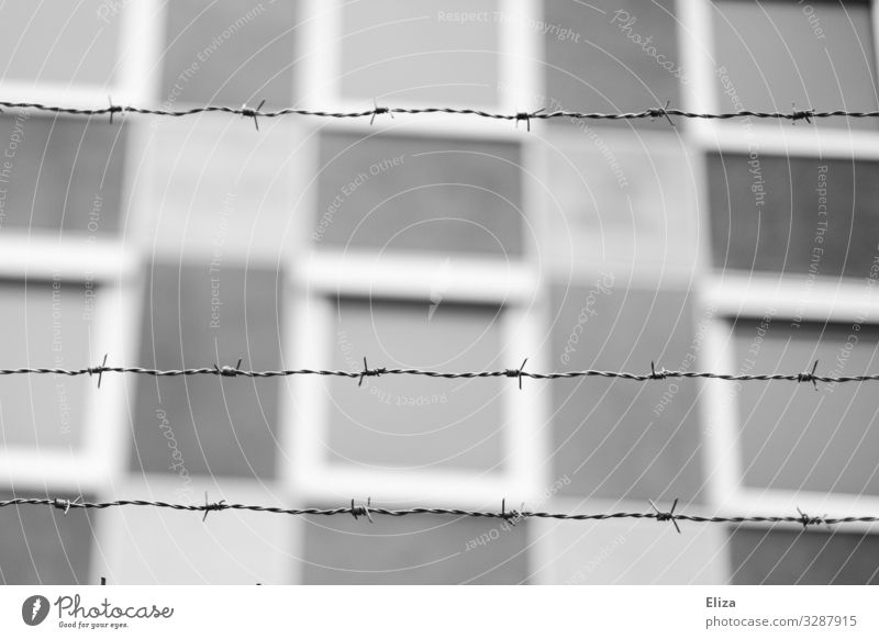 forbidden Barbed wire fence Threat Safety Exclusion Safety (feeling of) Border Penitentiary Bans Black & white photo Exterior shot Deserted Copy Space middle