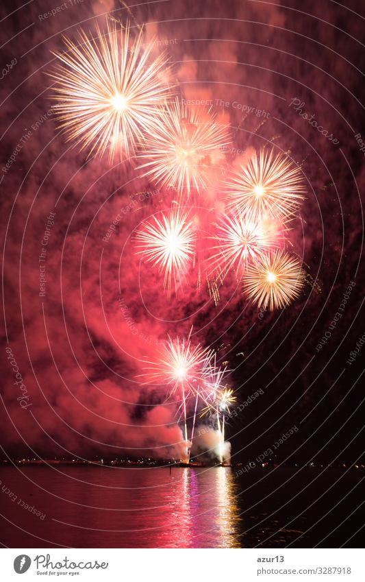 Luxury fireworks event sky water sea show with colour stars Lifestyle Night life Entertainment Party Event Feasts & Celebrations New Year's Eve