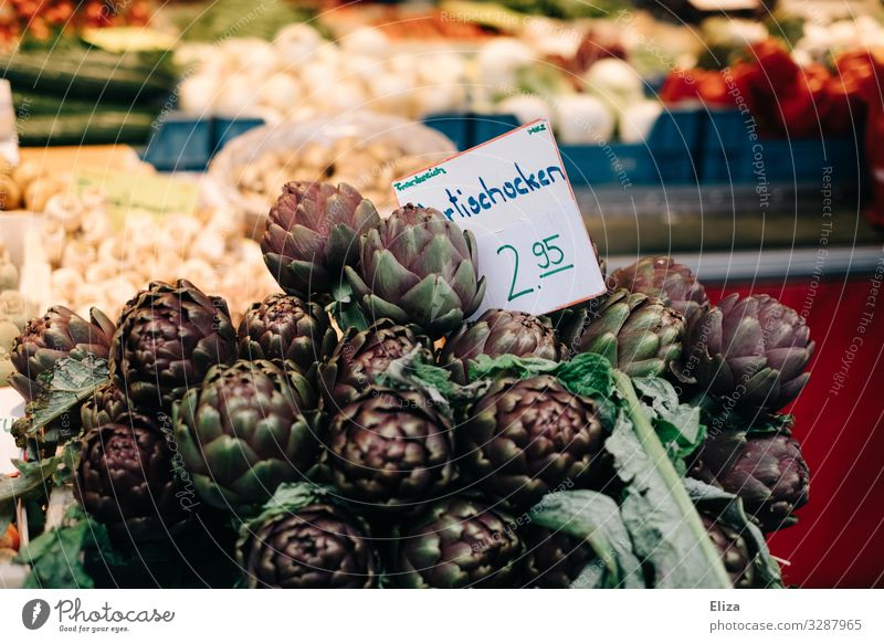 artichokes Food Artichoke Healthy Markets Market stall Greengrocer Farmer's market Fresh Violet Colour photo Exterior shot Deserted