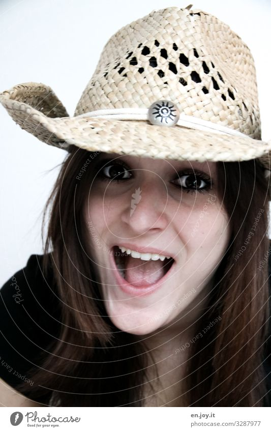 YEE-HAW Feminine Young woman Youth (Young adults) Face Fashion Hat Cowboy hat Brunette Laughter Brash Happiness Happy Hip & trendy Beautiful Natural Crazy Wild