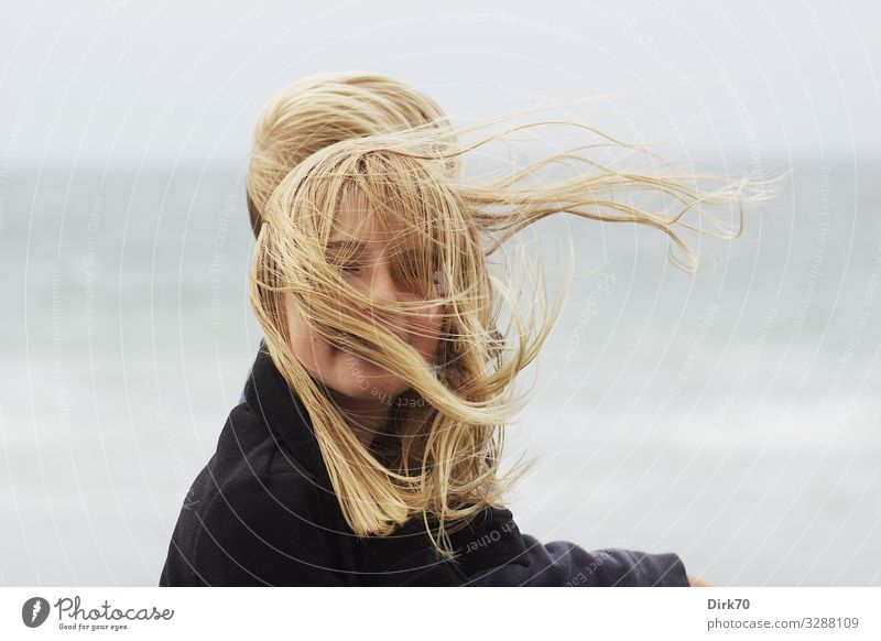 Wind-blown - Portrait of a long-haired girl in the wind Joy Vacation & Travel Summer Summer vacation Feminine Girl Infancy Hair and hairstyles Face 1