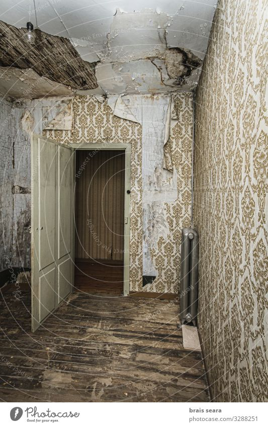 Abandoned room House (Residential Structure) Interior design Wallpaper Bedroom Hallowe'en Old town Ruin Building Architecture Wall (barrier) Wall (building)