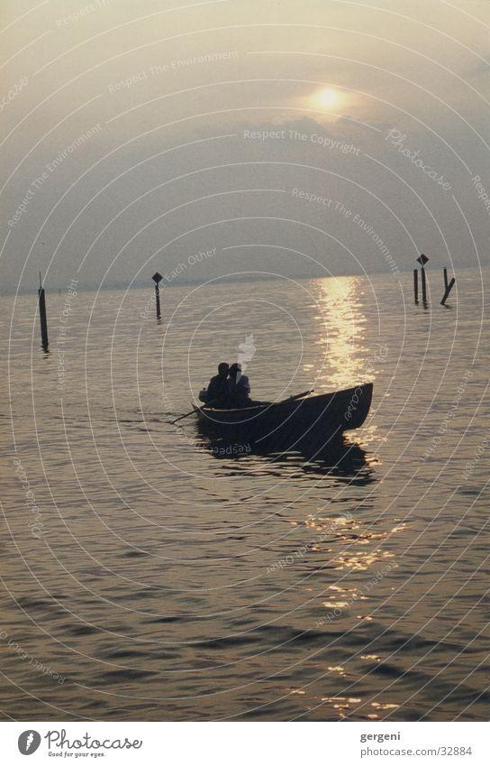alone in pairs Lake Watercraft Sunset Love