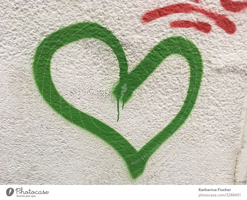 green heart / hope Town Downtown Deserted Wall (barrier) Wall (building) Facade Stone Concrete Sign Characters Graffiti Friendliness Happiness Gray Green White