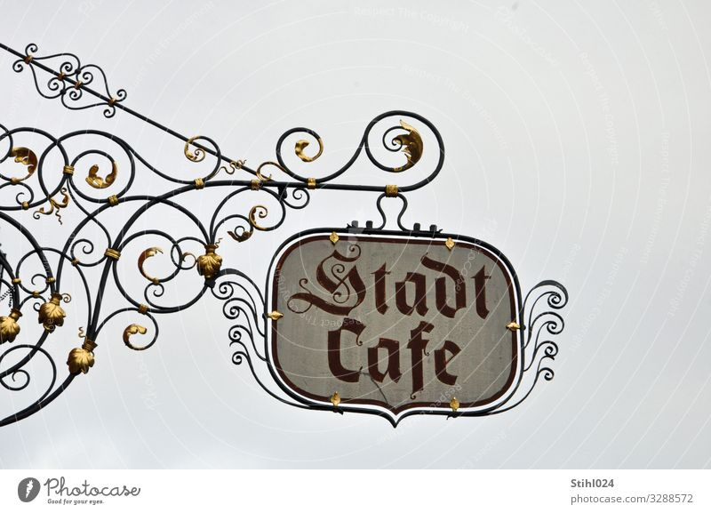 """wrought-iron shop sign """"Stadtcafé"""" Nutrition To have a coffee Café Trip City trip feet advertising sign Signs and labeling Signage Warning sign Eating Drinking"""