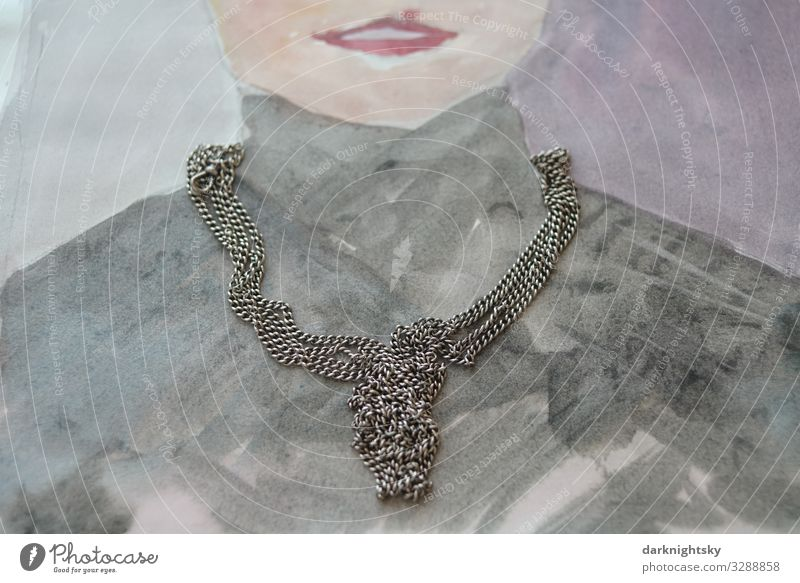 Jewellery Portrait Collage Elegant Style Design Body Fashion Human being Feminine Woman Adults Mouth 30 - 45 years Illuminate Poverty Esthetic Dark Gloomy Gray