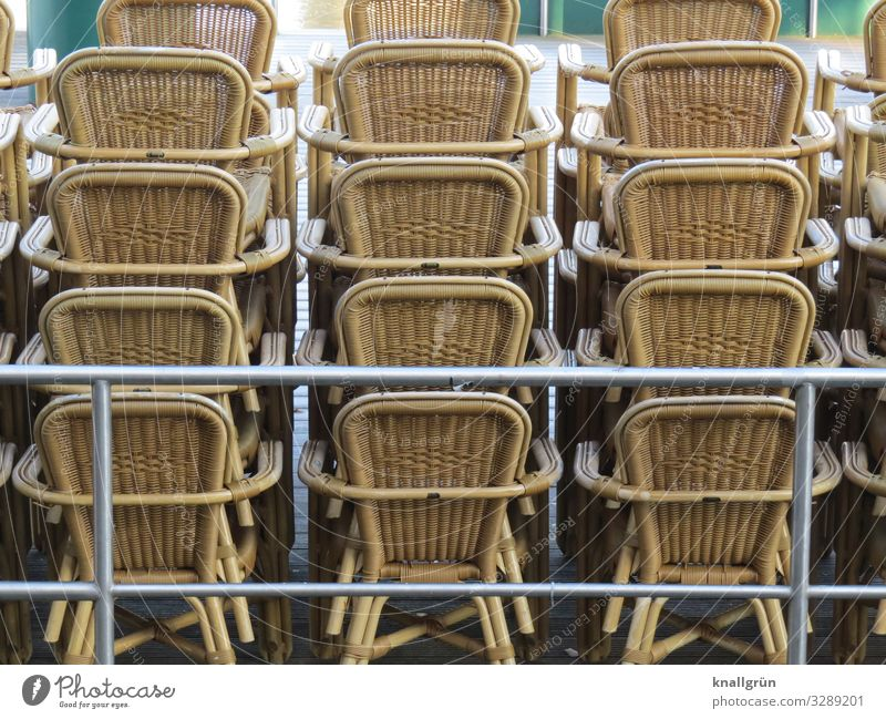 winter break Chair Stand Brown Silver Orderliness Break Stagnating Cane chair Stack Gastronomy Winter break Consecutively Colour photo Exterior shot Deserted