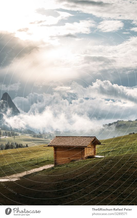 Sky Vacation & Travel Nature Green Landscape Clouds Mountain Yellow Environment Meadow Moody Vantage point Italy Hut Dolomites Seiser Alm