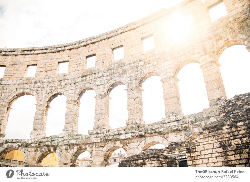 Amphitheater Pula Town Gray White Amphitheatre Back-light Stone Manmade structures Roman Croatia Travel photography Architecture Discover Colour photo