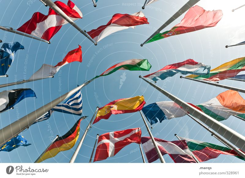 summit Vacation & Travel Economy Cloudless sky Flag Flagpole Exceptional Tall Beautiful Many Freedom Perspective Politics and state Attachment International