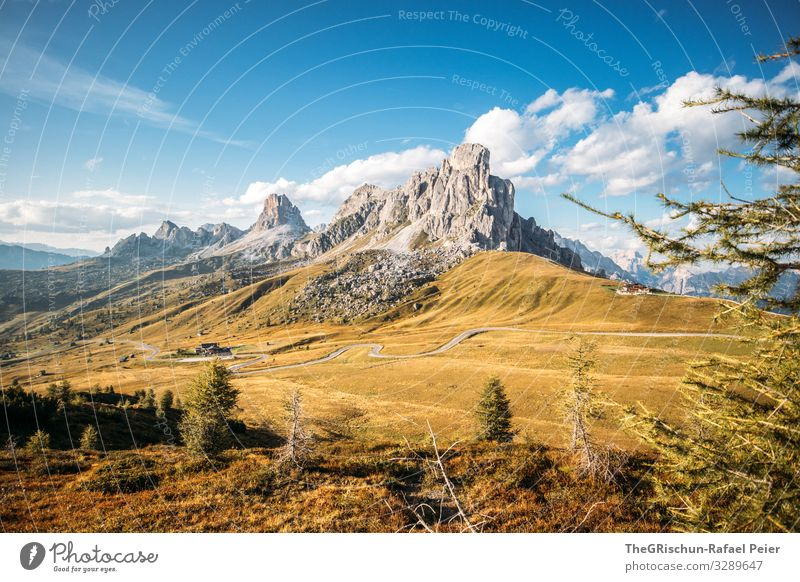 Passo di giau south tyrol Mountain Clouds Landscape Light mountains Evening Sun Nature Blue Grass Street Sky Meadow Exterior shot pass road Church Green Summer