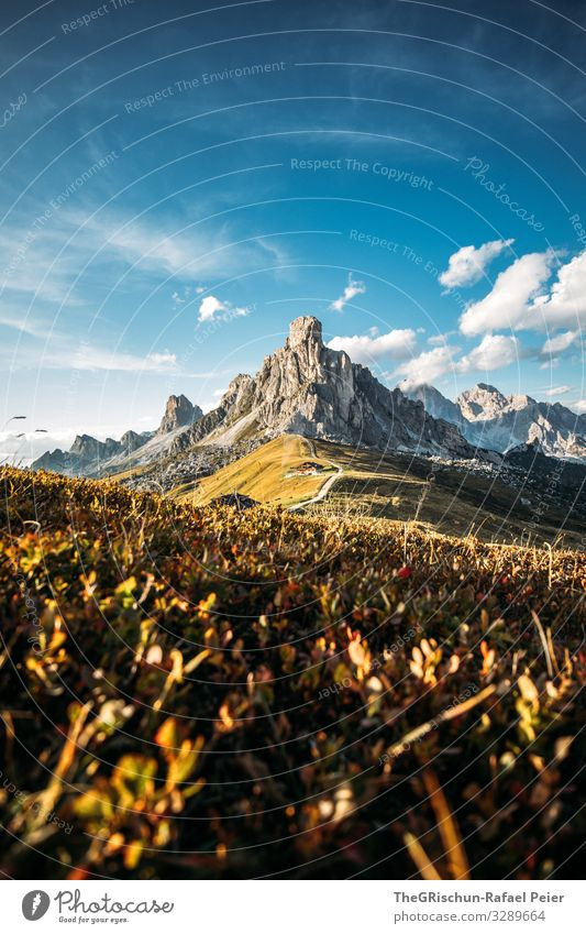 Sunset at Passo di Giau Mountain Clouds Landscape Light mountains Evening Nature Blue Grass Sky Meadow Exterior shot Street
