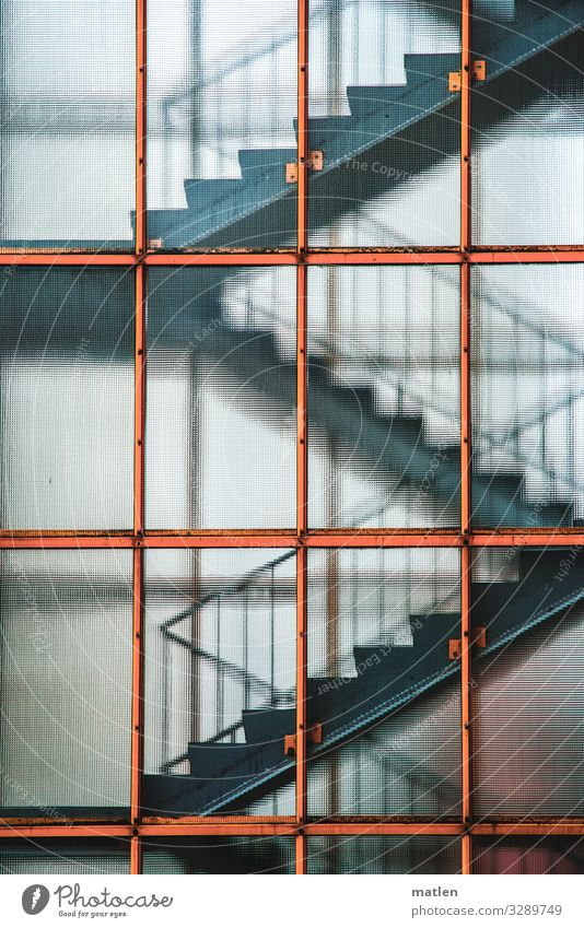 stairwell Town High-rise Architecture Esthetic Blue Gray Orange Staircase (Hallway) Stairs Subdued colour Exterior shot Pattern Structures and shapes Light
