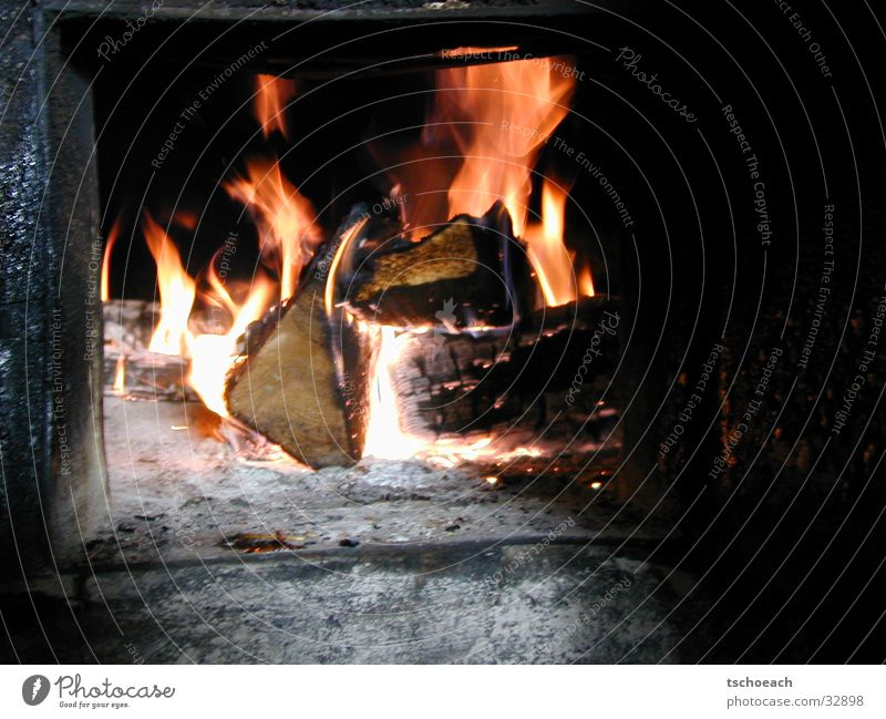 Fireplace in winter quarters Fireside Ski hut Wood Rustling Austria Europe Blaze Warmth Hut Heating by stove