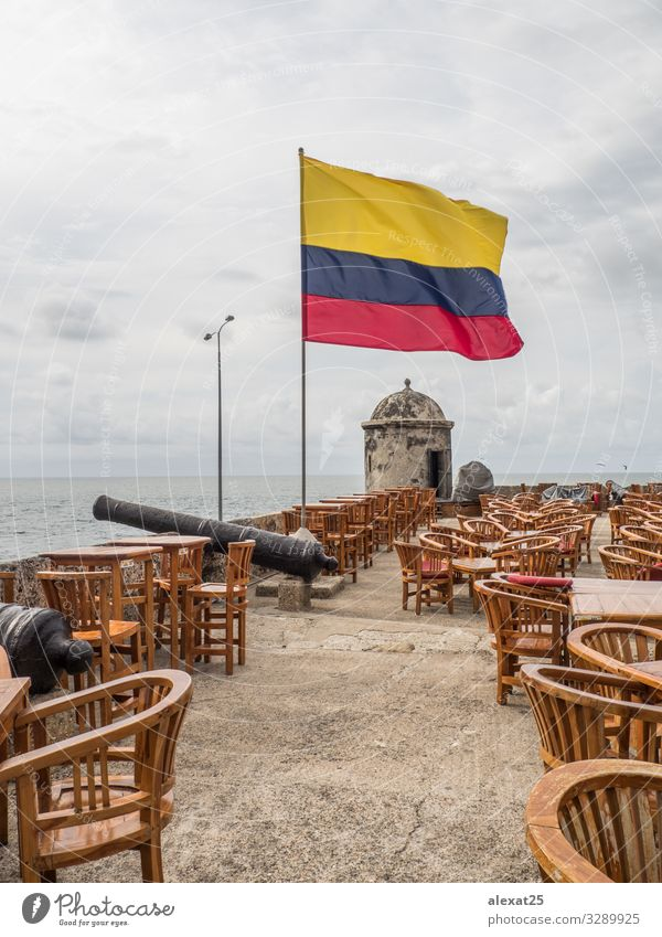 Terrace of cafe near the sea with the colombian flag Coffee Beautiful Relaxation Vacation & Travel Tourism Summer Sun Ocean Restaurant Nature Landscape Sky Town