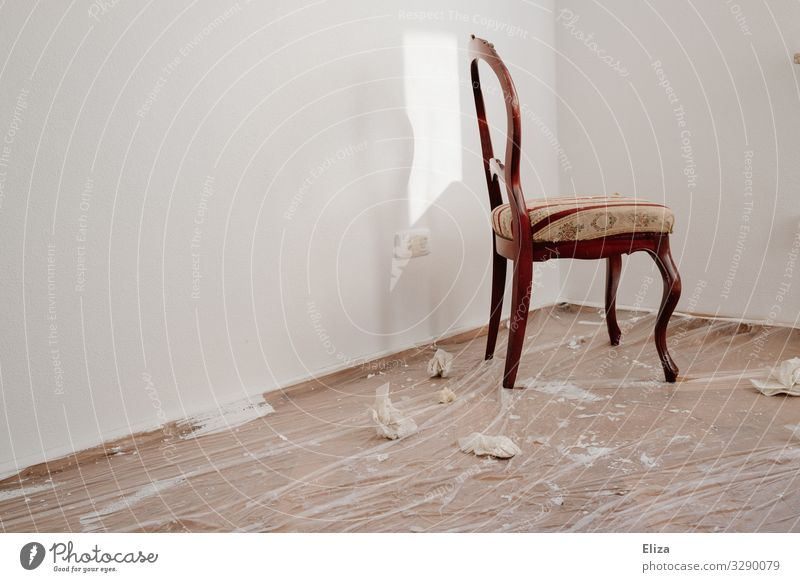 Chair in the room Wall (barrier) Wall (building) Room Moving (to change residence) Redecorate Drop Cloth Painting (action, work) Ground Colour Empty Past