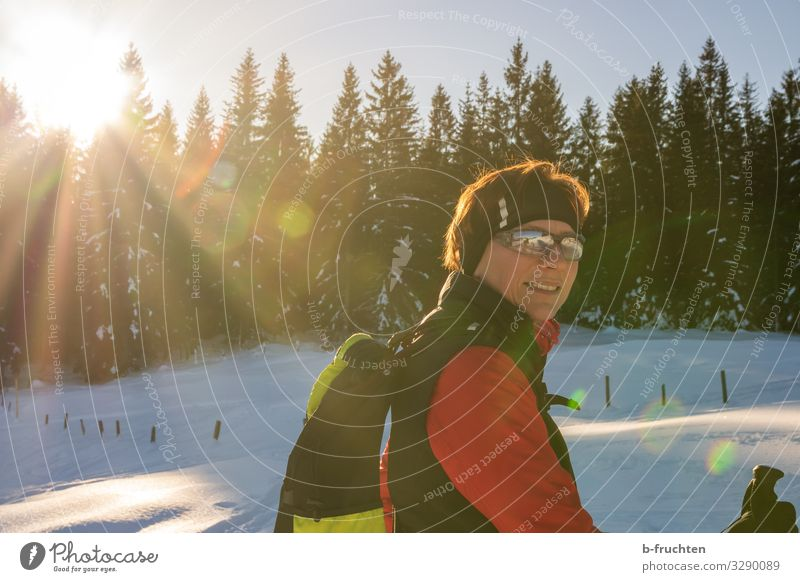 winter sports Healthy Life Vacation & Travel Trip Winter Snow Winter vacation Mountain Hiking Sports Winter sports Skiing Woman Adults Face 1 Human being
