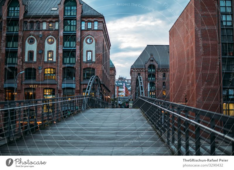 HAMBURG Town Orange Red Black Bridge House (Residential Structure) Hamburg Germany Clouds Light Old warehouse district Colour photo Exterior shot Deserted