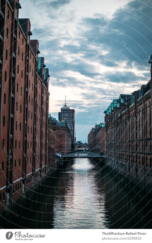 warehouse district Town Blue Orange Black Old warehouse district Hamburg Water Moody Germany Colour photo Exterior shot Deserted Copy Space bottom Twilight