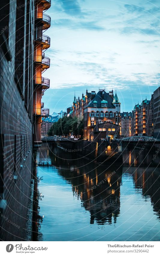 HAMBURG Town Blue Hamburg Light Reflection Germany Water Sky Moody Architecture Old warehouse district Colour photo Exterior shot Deserted Copy Space bottom