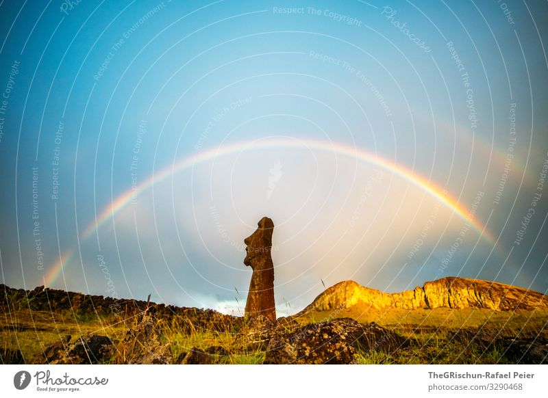 Nature Blue Landscape Clouds Travel photography Mountain Brown Moody Statue Sculpture Blue sky Rainbow Chile Perfect Easter island