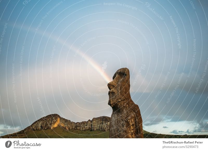 Nature Blue Clouds Mountain Stone Brown Gray Statue Sculpture Rainbow Handcrafts Chile Monstrous Quarry Easter island